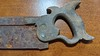 """Warranted Superior 14"""" backsaw, looks suspiciously like an 1867 Richardson, two of the split nut bolts are broken off. Guess we know why the handle wasn't removed for sharpening / retoothing"""