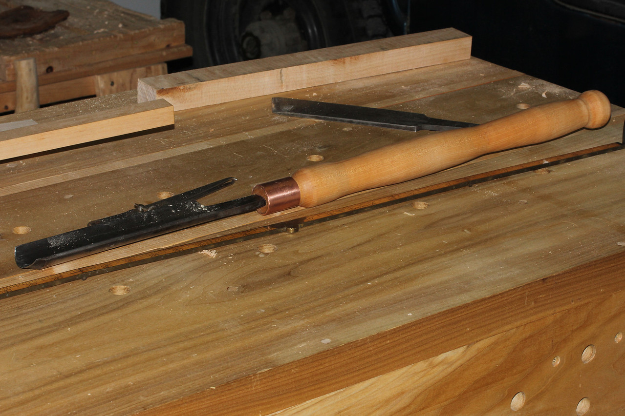 Hard maple handle for Buck Bros. gouge.  Looks kind of like Mr. Hankey from the side.