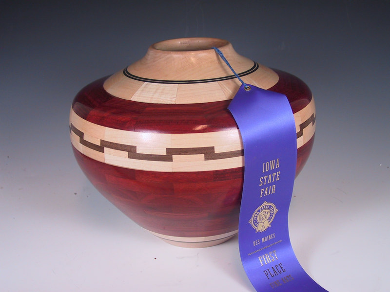 Ben Swartz's turned this beautiful Redheart and Maple  bowl that won the Fine Arts Sculpture Division at the 2005 Iowa State Fair.