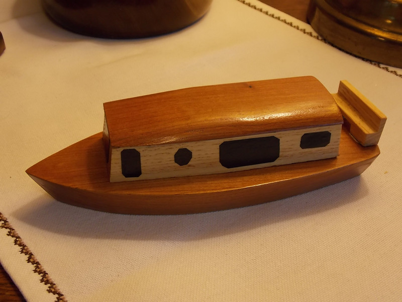 """Small model of """"the Bipolar Express,"""" our canal boat."""
