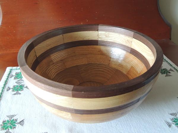 Segmented bowl, chestnut, walnut and ash