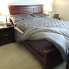 Queen size bed and night stands.<br /> Made from ash log from our property.  Stained mahogany.