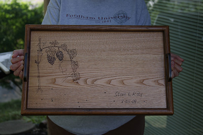 Steve & Katy's Wedding gift from Wormy Chestnut.  (that's a grape vine, for all those who can't tell)  It was my first attempt at woodburning.