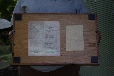 Back of the tray showing providence of the wood.