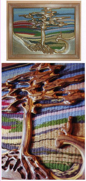 Carved picture.<br /> <br /> This piece is carved from laminated timber with a woven background. It is about 3 foot by 2 foot.