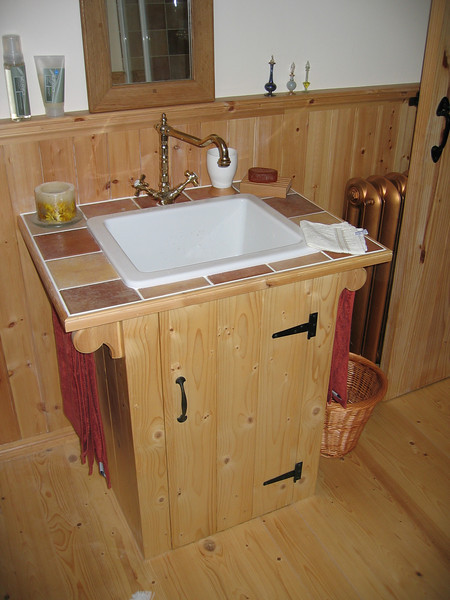 Bathroom sink and cupboard.