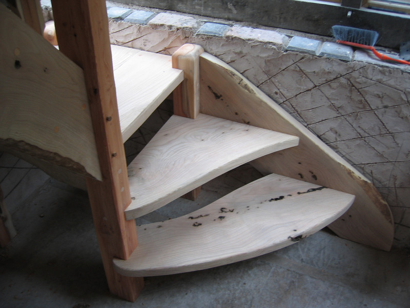 Detail of stair.<br /> <br /> Showing first two steps designed to allow an easy approach and organic feel.