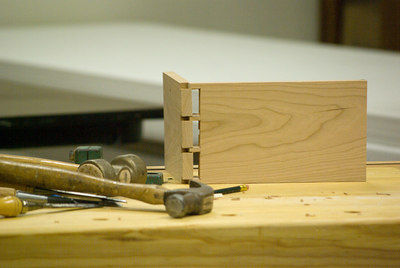 This partially assembled joint shows how the two pieces work together.