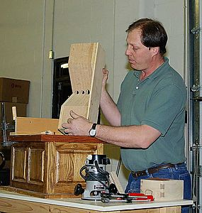 Jeff, this month's guest speaker, shows his method of making keyed dovetail joints.