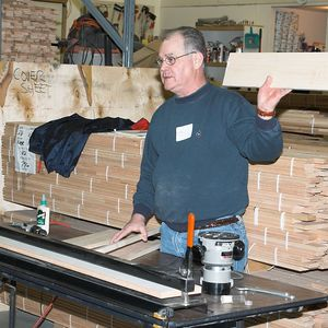 Dick demonstrated the Joint-A-Bility router jig.Return to Woodworkers Guild