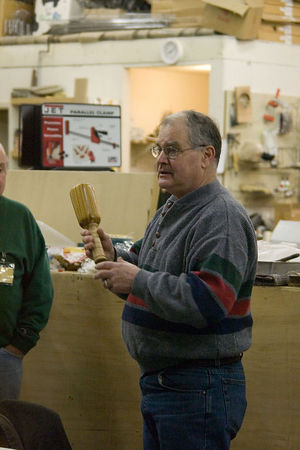 Richard J. showed turned mallets and a back scratcher. Return to Woodworkers Guild