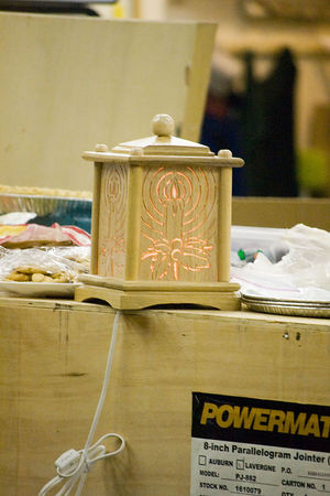 A view of Doug's night light when lit. Return to Woodworkers Guild
