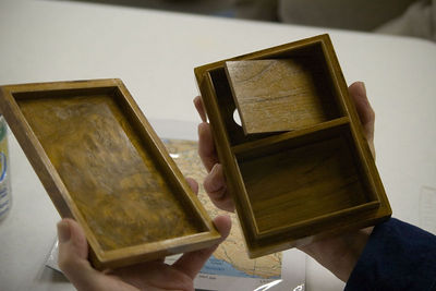 Lew's case was made by a craftsman in the middle east. Return to Woodworkers Guild