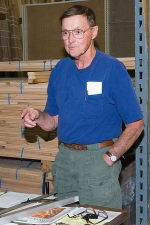 Thornton discussed the safe method of using a tapering jig.Return to Woodworkers Guild