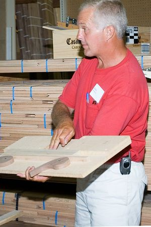 John described his fixture for holding items to be slotted with a biscuit joiner.Return to Woodworkers Guild