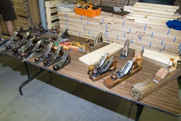 "<font size=""3"">A variety of metal and wooden hand planes, the subject of the evening.</font><br><br>Return to <a href=""http://www.omahawoodworkers.org"">Woodworkers Guild</a>"