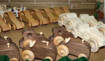 Some of the toys made for Santa by the woodworkers.Return to Woodworkers Guild