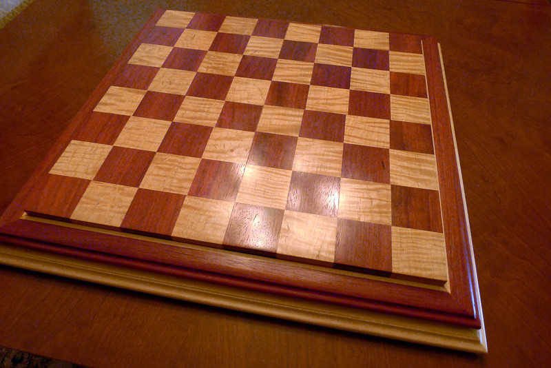 "Chessboard - Curly Maple and Padauk - Tournament size - 2.25"" squares"