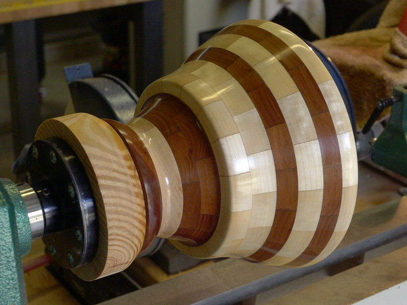 Segmented Grecian Bowl - being finished on the lathe - California Redwood and Aspen