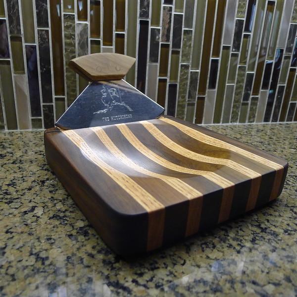 Cutting Board for Alaskan Ulu - Black Walnut and Red Oak - Mineral Oil finish