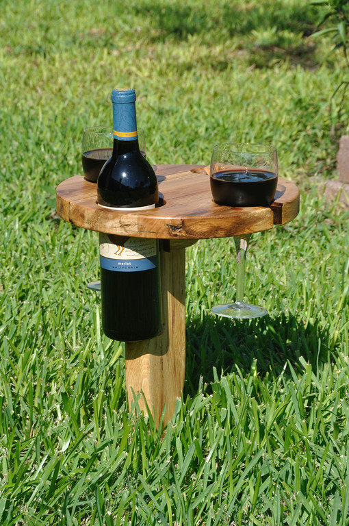 """This item is for sale in my ETSY store at <a href=""""https://www.etsy.com/TurkeyFeather"""">https://www.etsy.com/TurkeyFeather</a> <br /> <br /> Park picnic wine table: It folds up and has a built in handle for carrying.  Insert the pointed peg into the ground. Fold the table top over on its wooden hinge. Then, enjoy a nice bottle of wine without concern of where to set your wine bottle or tipping over your glasses. This solid oak table is 12"""" in diameter and has more than enough room for light snacks!"""
