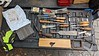 """Several Swedish chisels far right, Stearns fence, #45 parts, clamps, Fisch plug cutter,plow blades, Stanley / Buck looking chisels, 2"""" wide chisel, Millers Falls brace angular attachment, Ulmia 30mm rabbet, Buck knife sharpener, hole saws, scotchbrite x 4"""