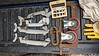 """Clamps, 4 (2 of 2 sizes) Universal 76 wedge grip clamps, 12"""" Williams C clamp, small vise, 2 casters, and some plug cutters."""