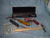 """Millers Falls 1218 inside micrometer 2"""" - 12""""<br /> Goodell Pratt 436 thread pitch gauge, given to Greg I<br /> Footprint Warrington Hammer<br /> Metric thread gauge measurer<br /> Stanley Center punch<br /> Crack Weeder, Stanley Utility knife, B&S 4"""" bar"""