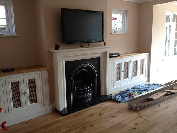 Alcove cupboards . oak top to match flooring