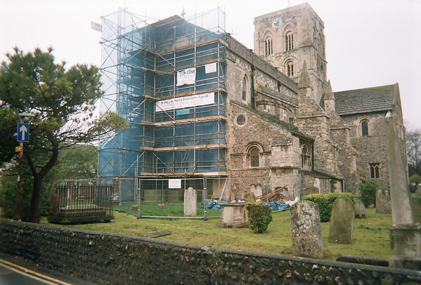 St.Mary's church , Shoreham-by-sea. Work on chalk vaulted ceiling replacement .