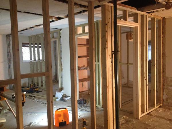 Stud work walls , New door linings