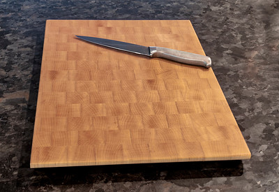Maple End Grain Butcher Block Cutting Board (Knife not included)