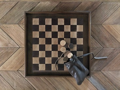 Maple and Walnut Checkers Set with Pine tray.