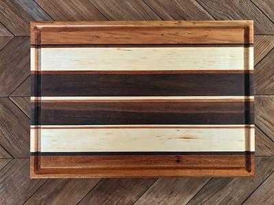 Walnut, Maple, Mahogany Edge Grain Cutting Board