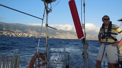 Departing Madeira, Carl on deck