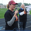 """Charity Butch, Vermilion Y Director with Emcee """"Voice of Vermilion"""" Cliff German in background."""