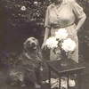Muriel Copson with  her dog Kim and the Peace roses