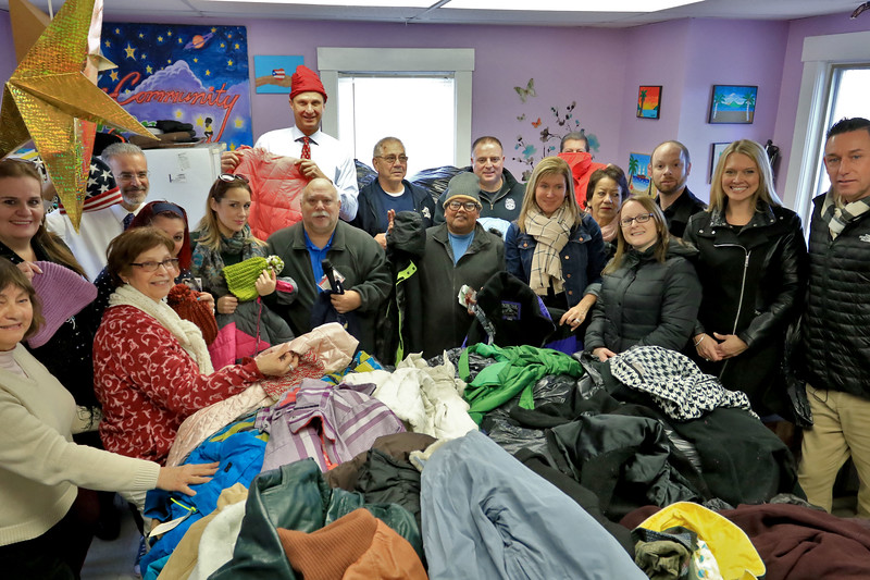 Worcester County Sheriff Lewis G. Evangelidis distributed thousands of winter coats to families & charitable organizations in need throughout Worcester County for the Sheriff's Annual Winter Coat Drive on Wednesday, December 5, 2018. One of their stops was the Spanish American Center in Leominster which got about 600 of the jackets they collected. SENTINEL & ENTERPRISE/JOHN LOVE