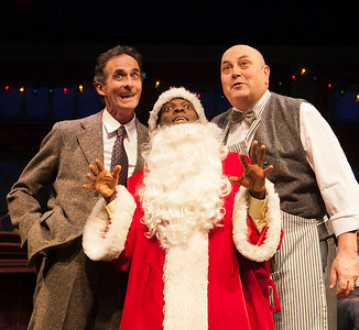 "L-R Dancing Dan (Rotimi Agbabiaka, center) has a great idea with his pals, a Speakeasy Regular (Jackson Davis) and Charlie Bernstein (Søren Oliver)   ""Dancing Dan's Christmas""     Photo credit:  Julie Schuchard"