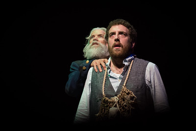 L-R  Charles Shaw Robinson, Lucas Brandt.  The Ancient Mariner tells the tale.   Word for Word / Z Space production of The Rime of the Ancient Mariner photo by Hillary Goidell