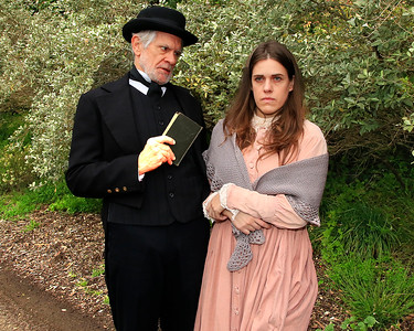 "Reverend Minister (Richard Farrell) chastises young Franny (Roselyn Hallett).  (""Night Vision"")From Word for Word's Stories by Emma Donoghue (""Night Vision"") and Colm Tóibín (""Silence"").Photo by Mel Solomon"
