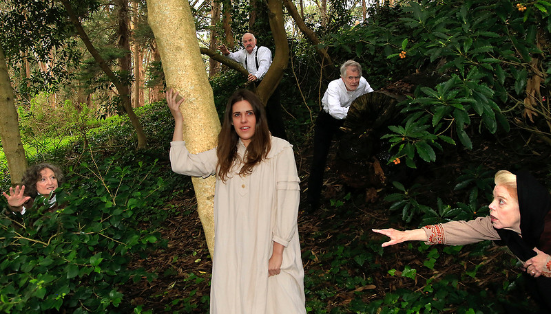 "Franny (center, Roselyn Hallett) hears the whispering of words (L-R Patricia Silver, Robert Sicular, Richard Farrell, Stephanie Hunt) in the forest. (""Night Vision"")From Word for Word's Stories by Emma Donoghue (""Night Vision"") and Colm Tóibín (""Silence"").Photo credit:  Mel Solomon"