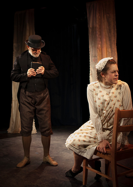 """The Scottish Minister (Richard Farrell) berates Franny (Rosie Hallett) for being a girl. From Emma Donoghue's """"Night Vision.""""Word for Word's Stories by Emma Donoghue and Colm Tóibín.Photo credit: Julie Schuchard"""