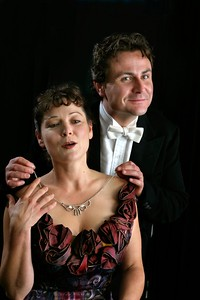 "(L-R) Delia MacDougall and Andrew Hurteau in Word for Word's Epiphanies: ""The Necklace."" Photo by Mark Leialoha."