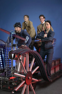 The cast of Word for Word's OIL! with Oliver DiCicco's sculpture of a 1912 Stearns automobile. Directed by Delia MacDougall.