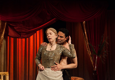 "Lady Gregory (Stephanie Hunt) is seduced by the poet Blunt (Rudy Guerrero). From Colm Tóibín's ""Silence.""Word for Word's Stories by Emma Donoghue and Colm Tóibín at Z Below, Feb 24th through April 3rd, 2016.Photo credit: Julie Schuchard"