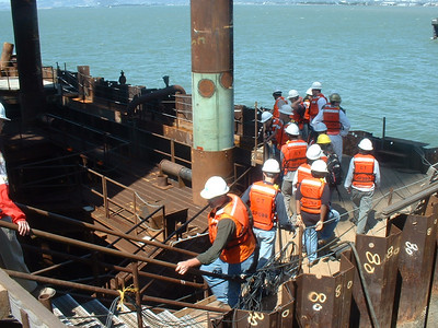 Looking down on a cofferdam