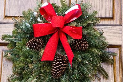 Chritsmas Wreath on Church Door, Rock County, Wisconsin