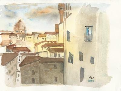 Vue sur Florence, Italie 12 X 9 WC