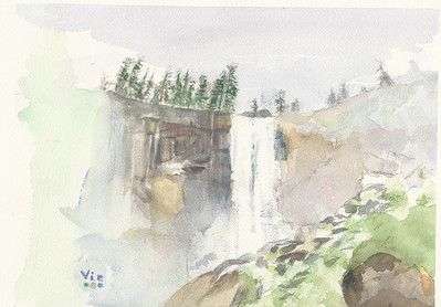 Vernal Fall, Yosemite 12 X 9  WC